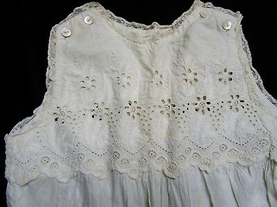 Child's Antique Edwardian Cotton Dress, Slip, Broderie Anglaise Embroidery Dolls