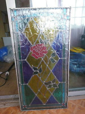 stained glass window panel rose flower double glazed