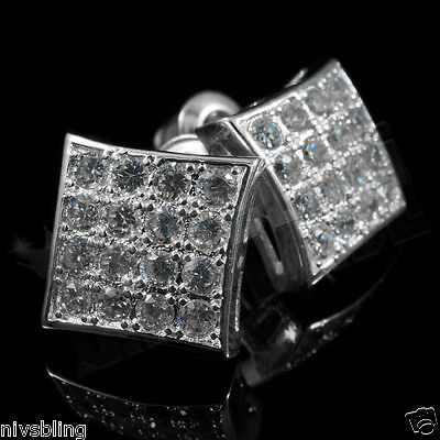 18k White Gold Bling Out Iced Micropave Silver Square Stud AAA CZ Earring 1S