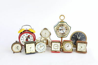 Lot of 10 x Vintage HAND-WIND Travel/Alarm Clocks WORKING Inc. Mickey Mouse