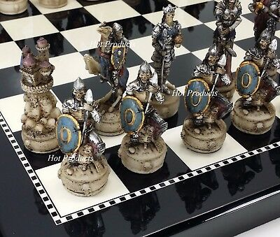 Medieval SKELETON SLAYER GOTHIC SKULL CHESS SET W/ BLACK & WHITE GLOSS BOARD 15""