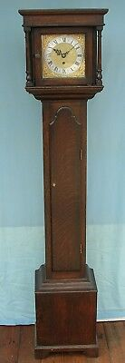 Eight day, Brass Dial, Oak Cased Grandmother Clock