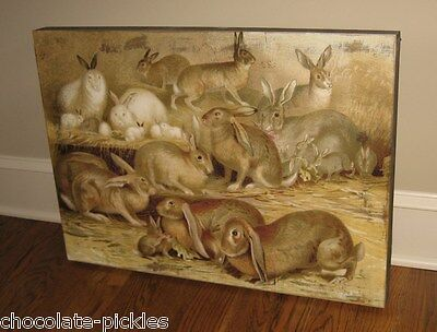 BUNNY RABBIT Wood Wall PICTURE*Primitive/French Country Farmhouse/Nursery Decor