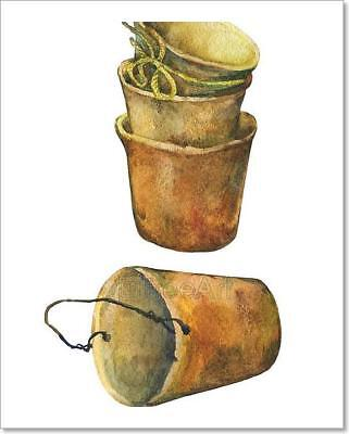 Aged Patina On Terra Cotta Plant Pots. Art Print Home Decor Wall Art Poster - E