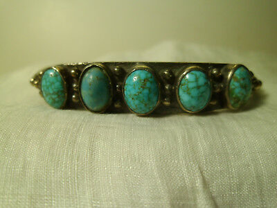 """Silver Older Navajo Cuff Bracelet W/Turquoise Inserts 7""""x .5"""" Unique, Unmarked"""