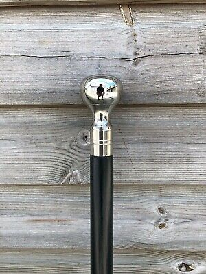 Wooden Walking Stick Cane Brass Embossed  Handle Nickle Finish