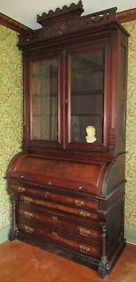 Antique Victorian Eastlake Cylinder Desk Bookcase Secretary Large Walnut Burl