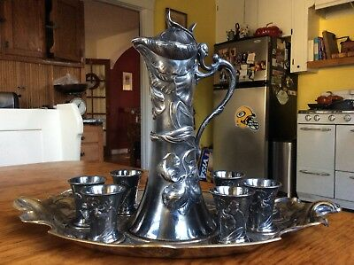 WMF Germany Jugendstil ART NOUVEAU Tray Pitcher Cordial SET Silver plated Brass