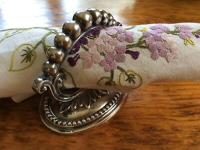 Victorian? Silver Plate Ornate Napkin Ring or Handle Silverplated Leaf & Bead