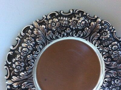 Tiffany Co REPOUSSE Sterling Silver Floral FERN Condimnt Dish Butter Pat NO MONO