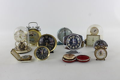 Lot of 12 x Vintage HAND-WIND Travel/Alarm&Mantle Clocks Spares & Repairs