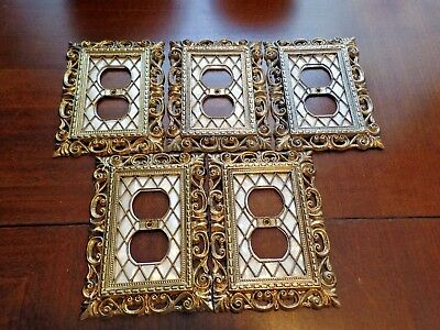 Lot of 5 Vtg 1968 American Tack Hardware Co. Outlet Covers Faux Mother of Pearl