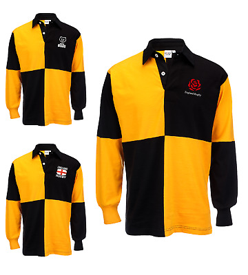 Quater Panel Yellow Black Rugby Shirt