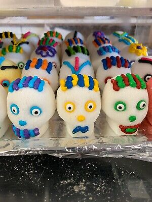 ORIGINAL Mexican Day of the Dead  Real Sugar Skulls Set of (2)   2 1/2 Inch QTY