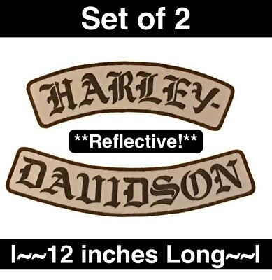 *August Sale* EXTRA LARGE Harley Gothic Rocker Patch Set *REFLECTIVE*