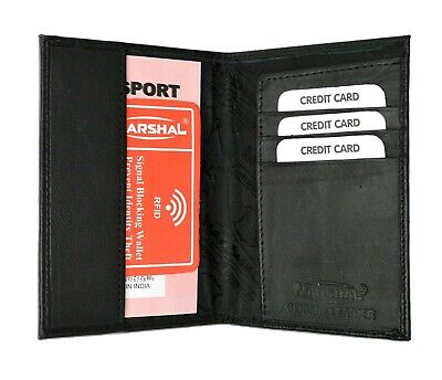 Black Leather RFID Blocking Passport Travel Wallet Holder ID Card Cover Case New