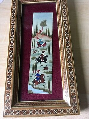 Antique Persian Painting In Marquetry Frame