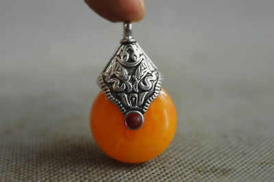 Collectable Handwork Old Miao Silver Inaly Amber Carve Special Character Pendant