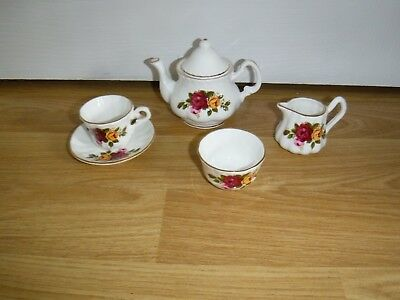Finsbury Bone China Miniature Teaset ~ Cup & Saucer Teapot Milk Jug & Sugar Bowl