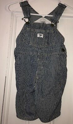 Oshkosh BGosh Shortalls Sz 4t Blue White Striped Vestbak Bib Overalls