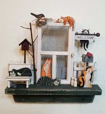 Adorable country style cat welcome sign wall decoration