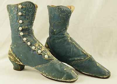 Antique Victorian Women's Blue Embroidered Button Up Boots