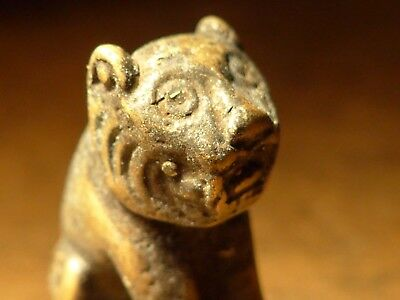 VINTAGE GUARDIAN TIGER SIAMESE THAI BRONZE BUDDHA TEMPLE Buddhist