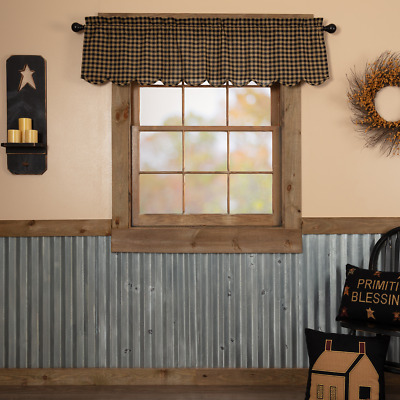 Black Check Scalloped Cotton Country Cottage Lined Window Valance
