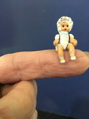 "TEENEY Tiny 1"" Metal Jointed Painted Baby Doll For  Dollhouse w Bonnet Cute"
