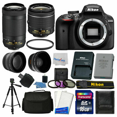 Nikon D3400 DSLR Camera + 16GB Top Value Bundle + 18-55mm + 70-300mm VR Lenses