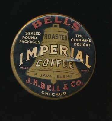 BELL'S IMPERIAL COFFEE 1920s Celluloid Advertising Pocket Mirror CHICAGO