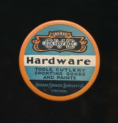 H.S.B. & Co HARDWARE 1920s Celluloid Advertising Pocket Mirror CHICAGO