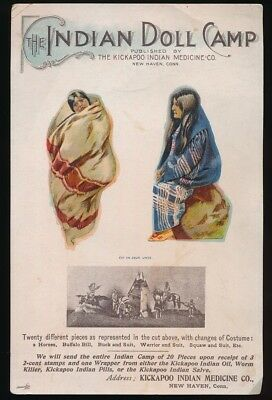 KICKAPOO INDIAN MEDICINE Co. 1890s Indian Paper Doll Camp Cut Out Ad Card