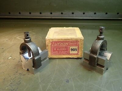 """Lufkin 905 V-Block Set & Clamps 1-1/4"""" x 1-1/4"""" x 1-5/8"""" Long USA Made Used Good"""