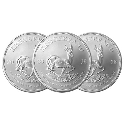 Lot of 3 - 2018 South Africa Silver Krugerrand 1 oz Brilliant Uncirculated
