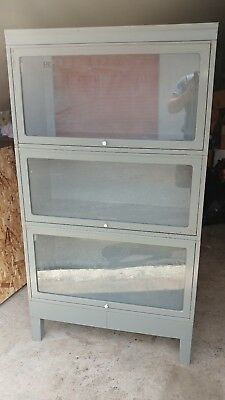 2 Vintage Industrial Globe Wernicke stacking bookcases