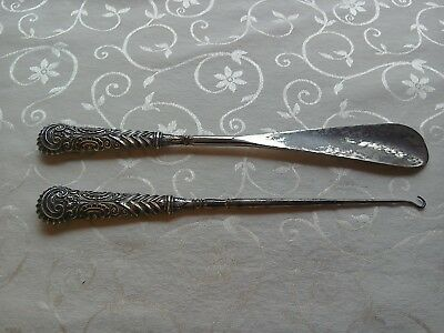Victorian Silver Handle Large Shoe Horn & Button Hook