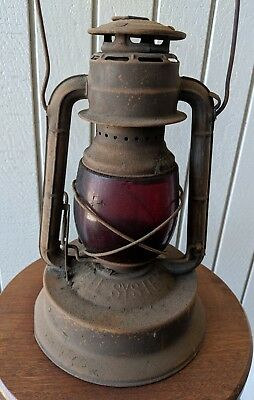 Dietz Bell System Vintage Red Globe Kerosene Lantern in Original Condition