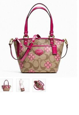 NWT Authentic Coach purse pink multicolor Peyton Signature Clover MSRP $278
