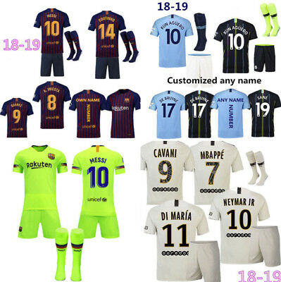 18/19 Football Soccer Home Jersey Kit Short Sleeve Kits 3-14 Yrs Kids Boys+Socks