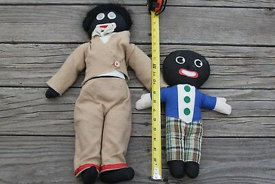 Gollywog Vintage Black Cloth Boy Doll Buttons Pants bow tie Jacket Plaid England