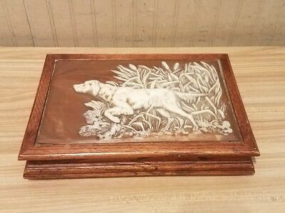 Vintage Oak Wood Jewelry Box with Irish Setter Pointer Hunting Dog on Lid ~ RARE
