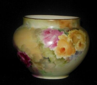 W Guerin  Limoges Hand Painted Vase Yellow Pink Mauve Roses Signed Ryan  1900