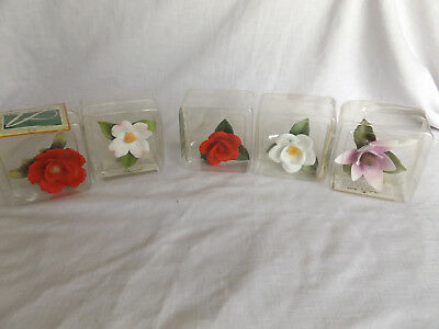 LOt of 5 Andrea by Sadek Porcelain Flowers In Boxes