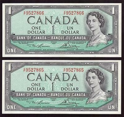 2x 1954 Canada $1 dollar consecutive bank notes BC-37d V/F9527865-66 UNC63