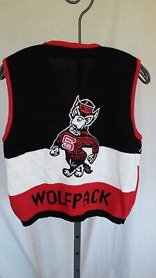 Vintage 80's Woman's Sweater Vest Nc State Wolfpack Belle Pointe Xl Front Zip