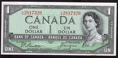 1954 Canada $1 dollar devils face bank note BC29b L/A2817329 UNC63 EPQ