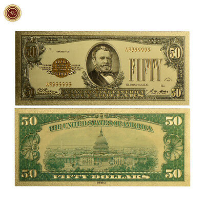 """WR 1928 """"Gold Certificate"""" $50 Gold Foil Pleated US Banknote Colored Gold Bill"""