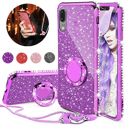 For Huawei P20 / Mate 10 Lite Bling Soft Crystal TPU Case Cover + Ring Lanyard