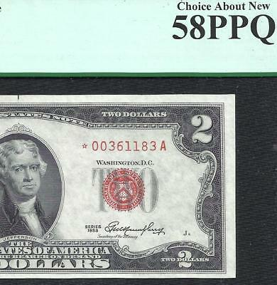 1953 $2 RED Seal **STAR** PCGS CHOICE ABOUT NEW 58PPQ! Old US Paper Money!